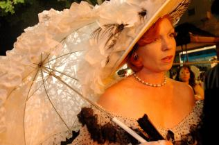 Jennifer Spain of Cameron Park, CA, shows off her Southern Belle costume during the 2008 Black & White Ball in Downtown Auburn. (Auburn CA, 2008)