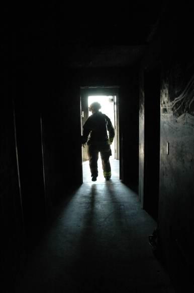 A firefighter at the Roseville Fire Training Center (Roseville CA, 2008)