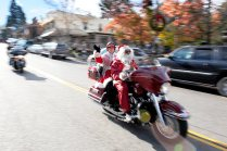 As Santa and Mrs. Claus, Brock Krasner and Erma Harkey lead the motorcycle brigade during the 13th Annual Gold Country Food and Toy Run. (Auburn CA, 2008)