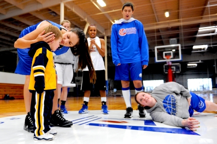 Rebekah Calvert's 2-year-old son Maximo is a regular at the William Jessup campus in Rocklin, sometimes accompanying Calvert in class and at practice. (Rocklin CA, 2009)