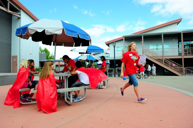 Silverado Middle School students work together during the Where Everybody Belongs, or WEB, orientation meant to help incoming sixth-graders transition into middle school with the help of knowledgeable eighth-graders.