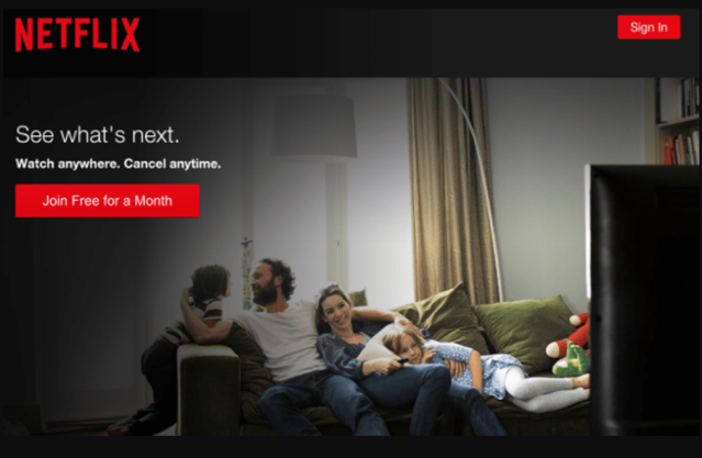 "Netflix login screen with its call to action to ""join free for a month"""
